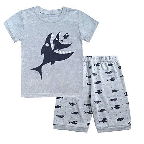 bobo4818 Jungen Kurze Pyjamas Sets Kids Digger Pjs für Jungen Kurzarm Nachtwäsche Nachtwäsche Sommer 2 Stück Outfits Alter 1-7 Jahre (4-5 Years, Gray-2) - 2 Stück Kurzarm-pyjama