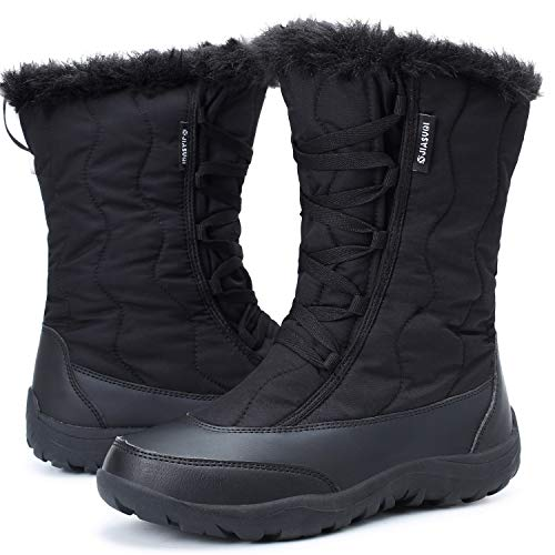 JIASUQI Snow Boots Womens Thermal Winter Outdoor Mid Calf Boot Waterproof Rain Booties with Warm Fur