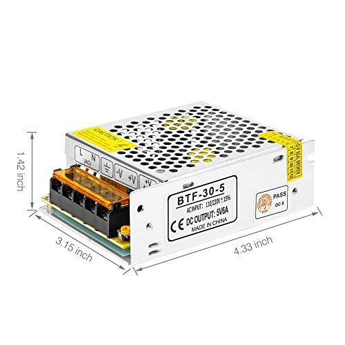 BTF-LIGHTING DC5V 6A 30W Aluminum Netzteil DC/AC Adapter Led Transformator Schalter, Treiber für LED Licht Streifen -