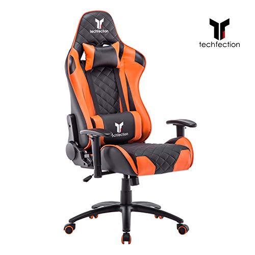 Techfection Gaming Stuhl Geeignet für Unterhaltungs/Büroarbeit Qualitativ hochwertiger Gamingstuhl/Bürostuhl Genaue Verarbeitung Ergonomischer Einstellbare Racing Stuhl(Orange)