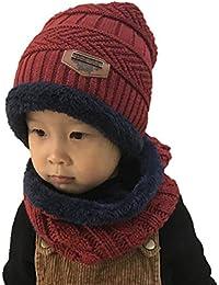 Boomly Bébé Bonnet à Tricoter Écharpe Tube Doublure en Polaire Douce Chapeau  d hiver Chaud Épaissir Chapeau de… 1f74098cb92