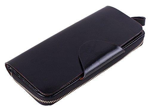 LH SAIERLONG Damen Zipper Wallet Schwarz Wax Echtes Leder Brieftasche