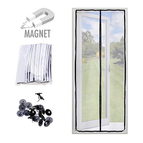 Oramics Magnet Fliegengitter Tür für Balkon und Terrasse - 100 x 220 cm - Magnetvorhang zum Schutz vor Insekten, Ideal für Balkontür, Kellertür und Terrassentür(100 x 220 cm Schwarz)