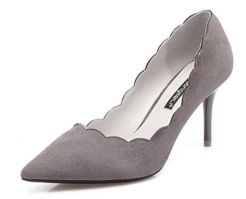 AalarDom Femme Dépolissement Stylet Pointu Tire Chaussures Légeres Gris-9CM