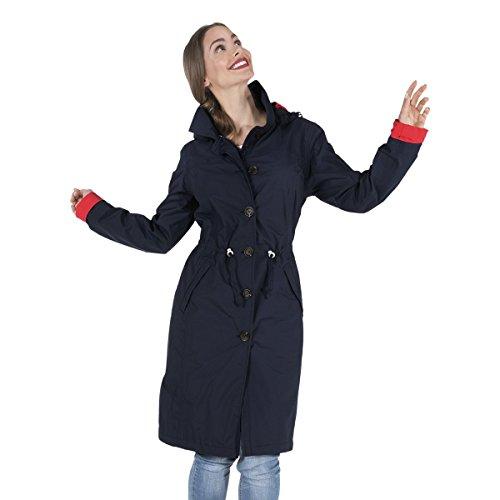 (HappyRainyDays - Damen | Regenmantel mit Kapuze Nena dunkelblau, Größe L)