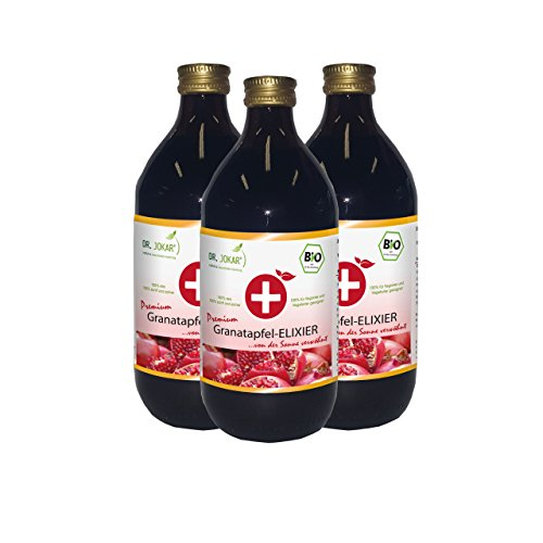 Bio Granatapfel Elixier (3 x 500 ml) von Dr. Jokar – 100% Direktsaft aus reifen Granatapfelfrüchten, unverfälscht, ohne Zucker oder andere Zusätze. Kostenlose Lieferung ab EUR 20,-