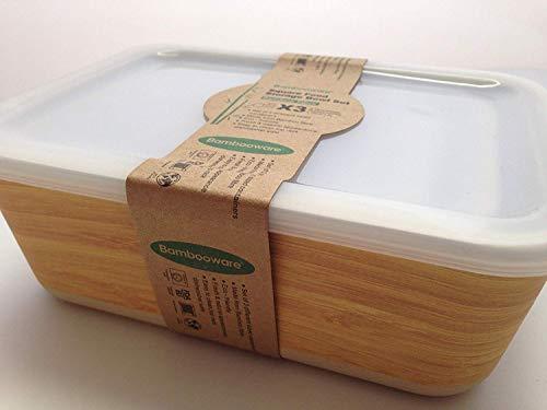 Tupper de Bambu ♻ 3 Tuppers de Fibra de Bambú Ecologicos - Material Organico, Reciclable, Biodegradable - Apto Lavavajillas - Resistente y Ligero - Eco, Bio, sin BPA ni Plastico - Taper Color Madera