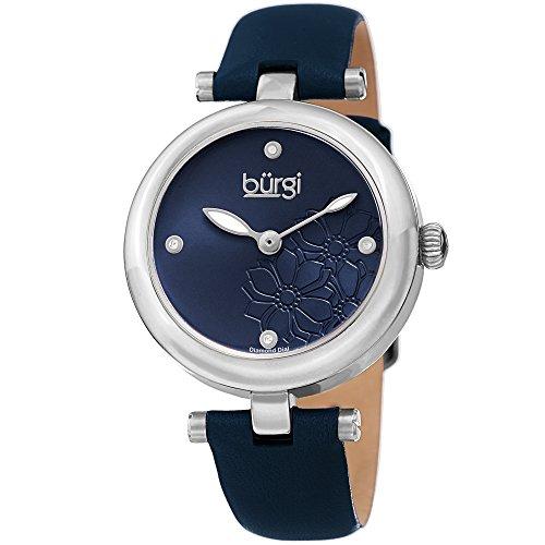 Burgi Femme Bur197bu Diamant Accentuée Fleur Cadran argenté et Bleu Bracelet Cuir Montre