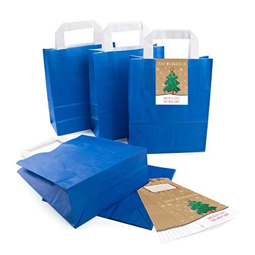25 kleine ROYAL-blaue Papier-Tüte Geschenk-Tasche mit Henkel Boden 18 x 8 x 22 cm + 25 Aufkleber FROHE WEIHNACHTEN ALLES GUTE FÜRS NEUE JAHR grün bunt beige Geschenkverpackung SET Be-Füllen bio