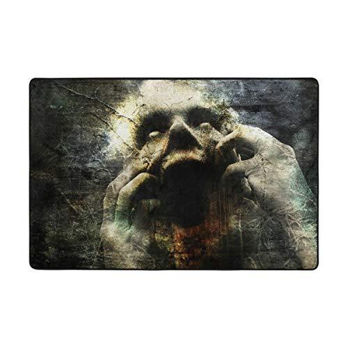 Dark Multi Teppich (Vipsa Teppich, Polyester, rutschfest, 91,4 x 61 cm, für Wohnzimmer, Esszimmer, Schlafzimmer, Küche, Horror Dark Gothic Scream Muster, Polyester-Mischgewebe, Multi, 72 x 48 inch)