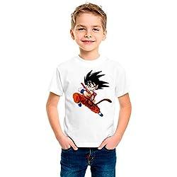 Camiseta dibujo Bola de Dragon. Tamaños de niño y tejido algodón 100%. (Talla 9/11, Blanco)