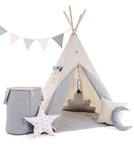 Golden Kids Kinder Spielzelt Teepee Tipi Set für Kinder drinnen draußen Spielzeug Zelt Indianer Indianertipi Tipi mit & ohne Zubehör (mit Zubehör, Grauer Wolf)