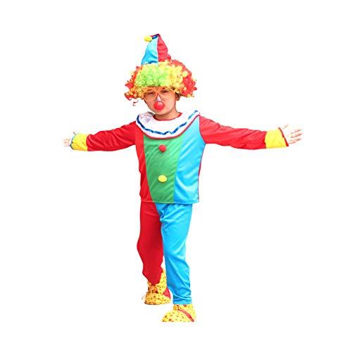 Yaxuan Burlesque Kinder Clown Halloweenkostüm Männliche Mädchen Clown Dress Karnevalsfest/Urlaub Halloween-Kostüme Enthält Alle Accessoires,2,XL