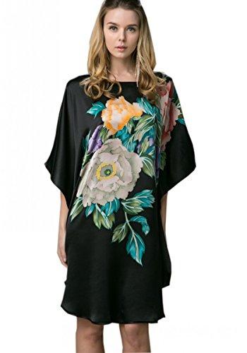 Prettystern - 100% Seide Kimono Nachtkleid Nachthemd mit Handbemalter Chinesischer Malerei - Ybs602 Schwarz mit Pfingstrose