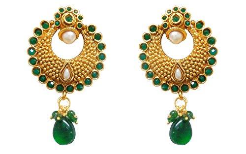 Chandrika Pearls Ram Leela Inspired Kundan Polki cubic zirconia navratri garba dandia Earrings  available at amazon for Rs.270