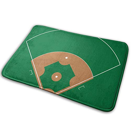 Alysai Baseball Green Field weiße Linie Markup 16 x 24 Zoll rutschfeste Badezimmer Teppich Shag Duschmatte maschinenwaschbare Badematten mit wasserabsorbierenden weichen Mikrofasern