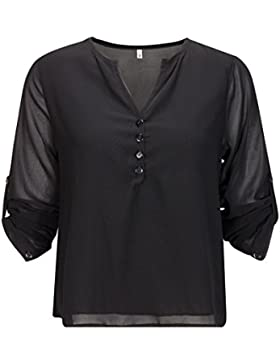 Beauty7 Camisas Gasa de Mujeres V Cuello con Botones Manga Larga Camisetas Respirable Blusas Casual T-Shirt Tops...