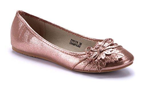 Schuhtempel24 Damen Schuhe Klassische Ballerinas Bronze flach Zierschleife/Blumenapplikation