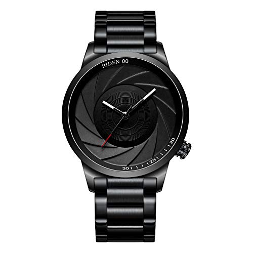 Reloj,Relojes Hombre Negro Moda Negocios Simple Acero Inoxidable Impermeable Reloj Analógico de Cuarzo