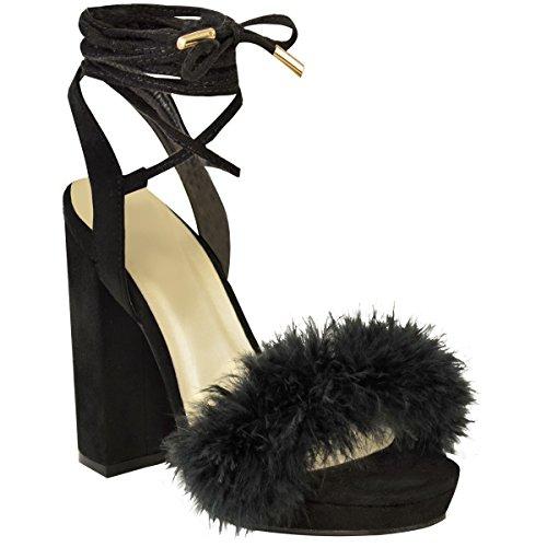 Donna A blocco Sandali Tacco Alto Alla caviglia Legare Pelo Con bretelline Plateau misura UK Nera Pelle Scamosciata