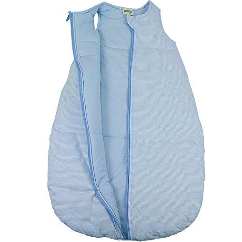 Baby + Kleinkind Schlafsack Ringelstreifen hellblau, wattiert + warm gefüttert für kühlere Tage, 4-Jahreszeiten-Baumwolle Größe 74/80