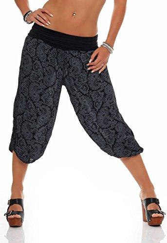malito Damen Capri Hose mit Orient Print   Haremshose zum Tanzen   Pumphose zum Chillen - Freizeithose 8581 (schwarz)