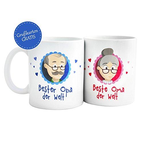 Geschenk beste Oma – Geschenk bester Opa * beste Oma der Welt Tasse / bester Opa der Welt Tasse * beste Oma bester Opa Tassen mit GRATIS Glückwunschkarten – Geschenk beste Oma / bester Opa von MyOma