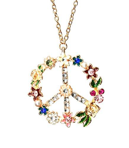 Pendentif collier peace and love perle strass zirconia fleur sautoir or doré