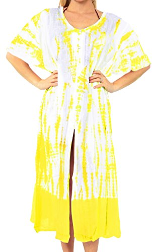 La Leela Copricostume Tunica Senza maniche opaco donna Yellow ... 32e16378cbd