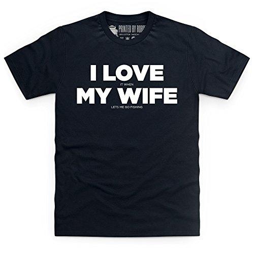 I Love Fishing T-Shirt, Herren Schwarz