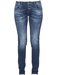 MOD Damen Jeans Ulla Slim Fit Blau Treviso Blue Destroyed