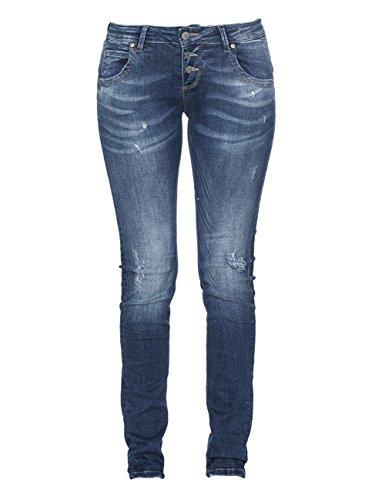 M.O.D. Damen Jeans Ulla - Slim Fit - Blau - Treviso Blue Destroyed, Größe:W 28 L 32, Farbe:Treviso Blue Destroyed (2063)