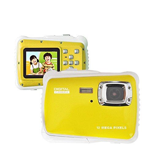Digital Kamera für Kinder Wasserdicht mit 2.0 '' LCD-Bildschirm, Super HD Unterwasser Action Kamera, Digital Video Camcorder Cam für Sport Schwimmen Tauchen und Beaching (Gelb) Digitale Slr-cam