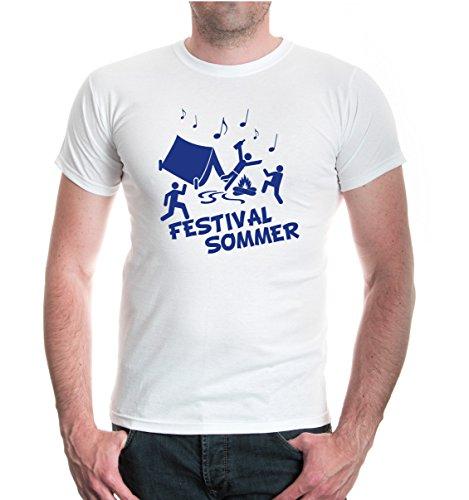 buXsbaum® T-Shirt Festivalsommer White-Royal