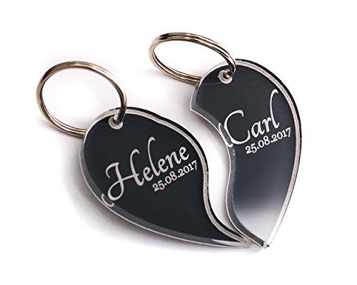 CHRISCK design 2 Schlüsselanhänger mit Wunsch-Gravur Herz-Hälften Partner-Liebes-Geschenk