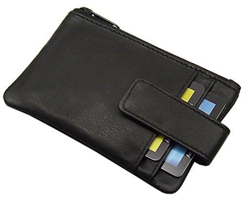 Echt Leder Schlüsseltasche mit 2 Kartenfächer in Kalb- oder Büffelleder MJ-Design-Germany in Schwarz (Kalb Schwarz)
