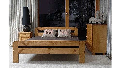 JUSTyou Claudia Aliso Cama de madera maciza + Listones Color Aliso Tamaño 140 x 200 cm
