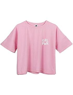 BLACKMYTH Donna Girocollo Baumwolle Magliette T-Shirt Drucken Casual Tee Signore Mode Crop Tops