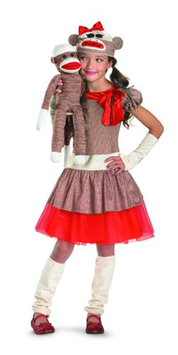 Sock Monkey Girl Costume, Beige/Brown/Red, Large/10-12