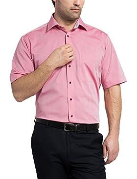 ETERNA Herren Kurzarm Hemd Comfort Fit Chambray Modern-Kent rot / chianti mit Patch 8509.56.K15P (44, Rot)
