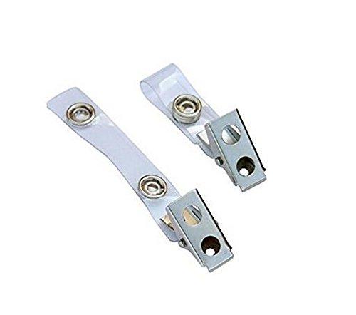 50 pcs Metall Doppel Loch Badge Clips mit Transparente PVC Träger Druckknöpfe für ID Card Business Card Badge Holder - Id-abzeichen-träger