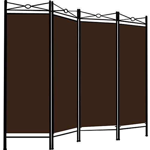 Deuba Paravent Lucca 180x163cm | 4 Trennwände flexibel verstellbar | Raumteiler Sichtschutz | platzsparend & multifunktional | braun