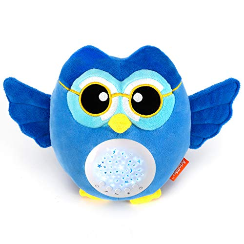 Artoflifer HugMe - Baby Sound Machine | White Noise Machine | Baby Nursery Night Light Projector | Portable Baby Sleep Soother | Blue Stuffed Owl Toy | Sleep Aid with 13 Songs | Crib Mobile Toys