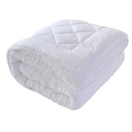 4 Jahreszeiten Bettdecke 220x240cm Microfaser 4 Jahreszeitenbett Steppbett Steppdecke aus Microfaser Allergiker geeignet mit Drückknöpfen (220x240cm)
