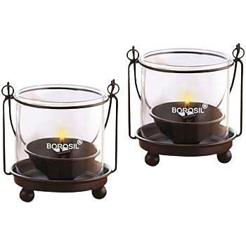 Borosil Hanging Diya Lights (Medium, Set of 2)