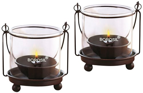 Borosil Hanging Diya Lights (Medium, Set of 2)