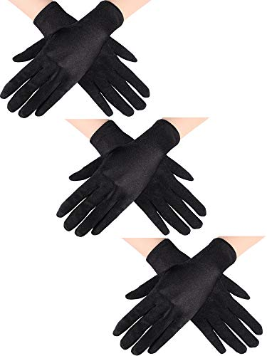 Sumind 3 Paar Handgelenk Länge Handschuhe Damen Kurze Satin Handschuhe Opera Kurze Handschuhen für die Hochzeitsgesellschaft der 1920er Jahre (Schwarz) -