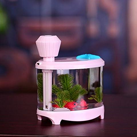 VANKER Tanque de pescado USB LED humidificador ligero Purificador de aire atomizador Aroma Mist Maker -- Rosa