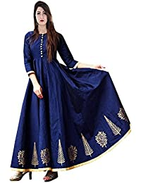 92143d405a81 Saptarangi Women's Taffeta Silk Heavy Embroidered Semi Stitched Gown  (1_Nevy Blue, Free Size)