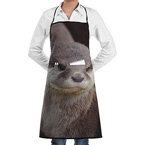 UQ Galaxy Kochschürze,Asian Small Clawed Otters Schürze Lace Unisex Chef Einstellbare Lange vollschwarze Küche Schürzen Lätzchen mit Taschen zum Backen Crafting - Otter Kostüm Muster